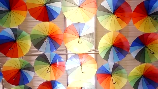 Installation of colored umbrellas on the roof as protection from the hot sun