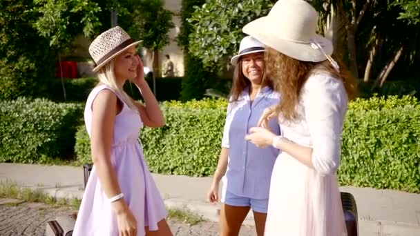 three funny girl friends met on the edge of the road with suitcases. organization of joint rest