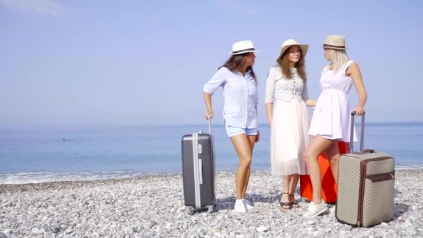 Group of beautiful female tourist standing on a beach with a luggage.