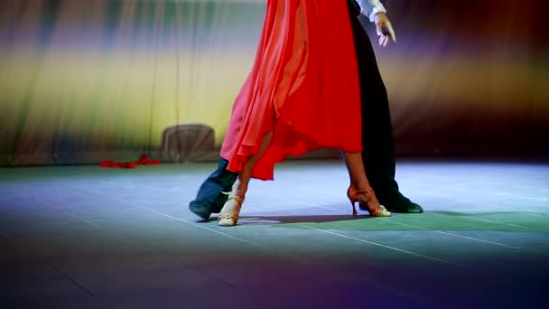 Legs of professional dancers as they dance a tango on the scene.