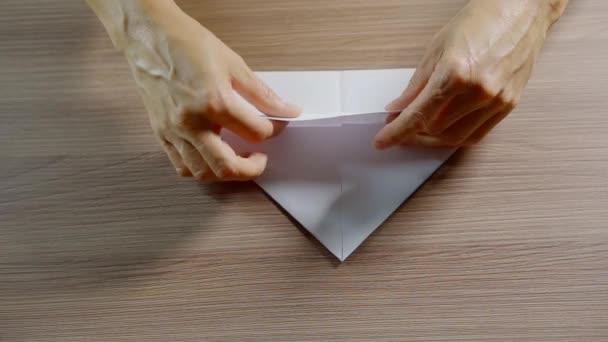 Tavolo Pieghevole A Libro.Donna Adulta E Pieghevole Libro Bianco Che Fa Figura Di Origami Su