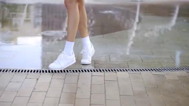Slender Female Legs White Socks