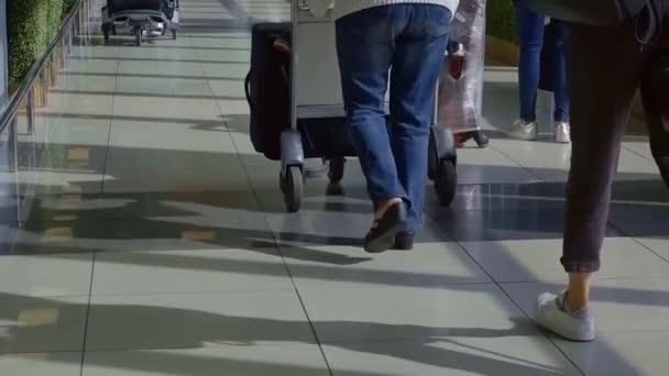 cestující jsou jejich bagáž na vozíky a kufry v letištních terminálů