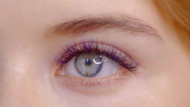 Nahaufnahme weiblicher Augen mit langen blauen Wimpern