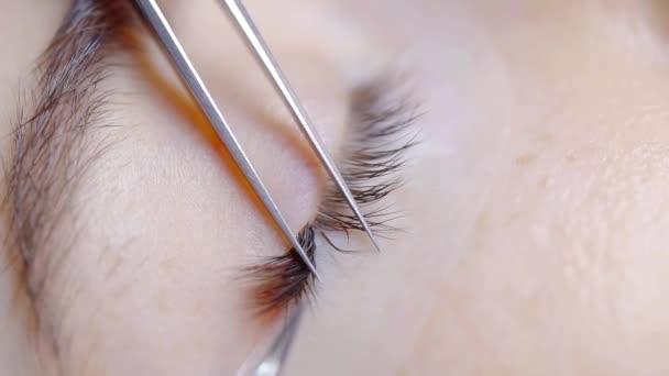 Kosmetička, práce s pinzetou během rozšíření procedury v salonu krásy, obtížný proces řasy