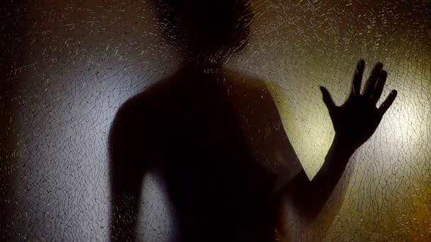 757b58baad97 Silueta de mujer sexual desnuda detrás de la pantalla de vidrio roto ...