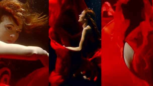 Vertikální video dívky pod vodou ve tmě v dlouhé červené šaty plave jako v pohádce mořská panna