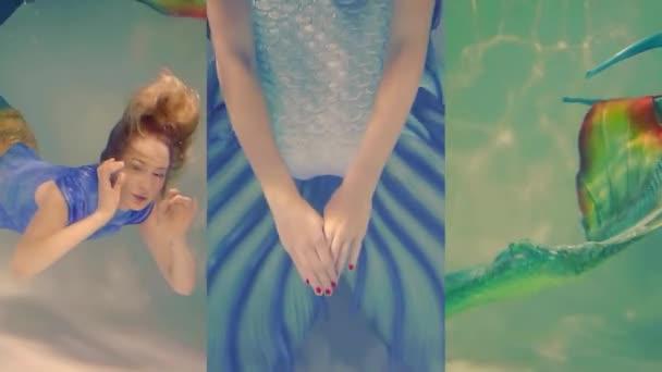 Vertikální video dvě mořská víla dívky plavat pod vodou jako v pohádce. velké silikonové ocásky a obleky