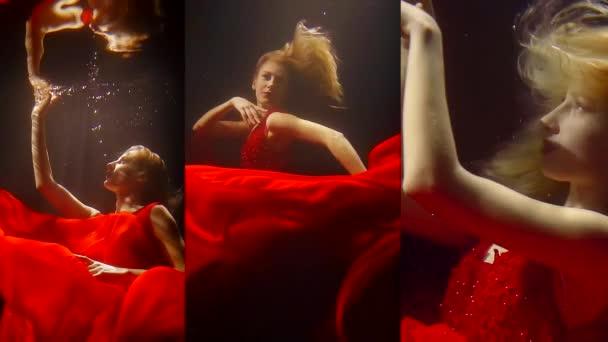 Vertikální video dívka s bílými vlasy, plavání pod vodou v dlouhé červené šaty jako v pohádce