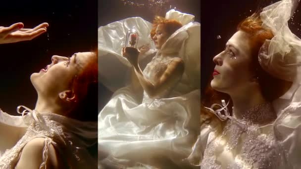 Vertikální video hezká dívka s červenými vlasy plavání pod vodou v bílých šatech jako v pohádce mořská panna