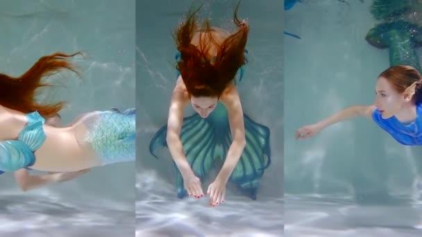 Vertikální video roztomilá mořská panna dívka s ocásky Silikonová plavání pod vodou