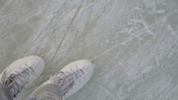 nohy v bílé brusle, Bruslení na ledě, detail