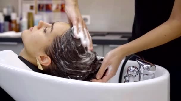 Side view shot of a hairdresser washing womans hair in a hair salon. Professional hair services.