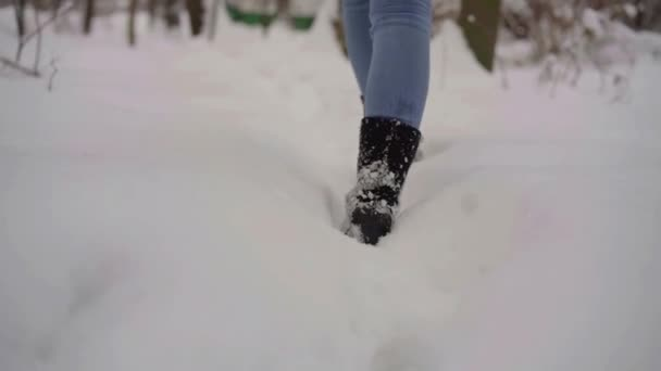 Close-up of a woman feet in warm shoes go through the snow-covered forest   no road after snowstorm in winter