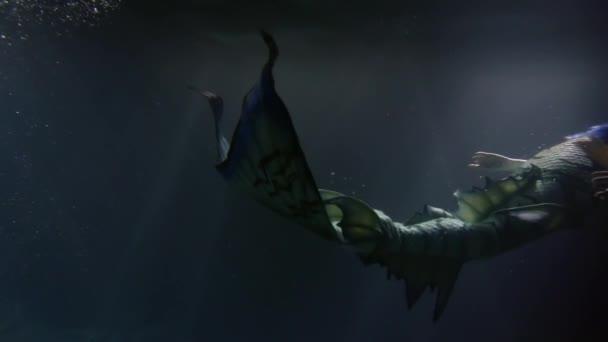 Beautiful mermaid with purple hair swimming underwater in darkness.