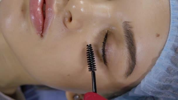 das Gesicht der Mädchen, das in Nahaufnahme im Schönheitssalon liegt. Kosmetikerin bemalt Wimperntusche.