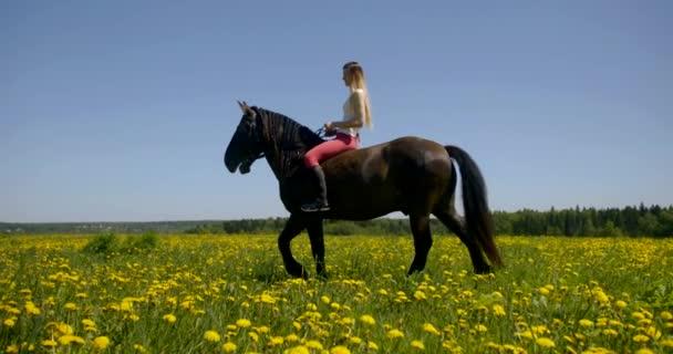 Frau sitzt auf braunem Pferd auf Weide, Tier steht, Reiterin fällt mit Füßen auf
