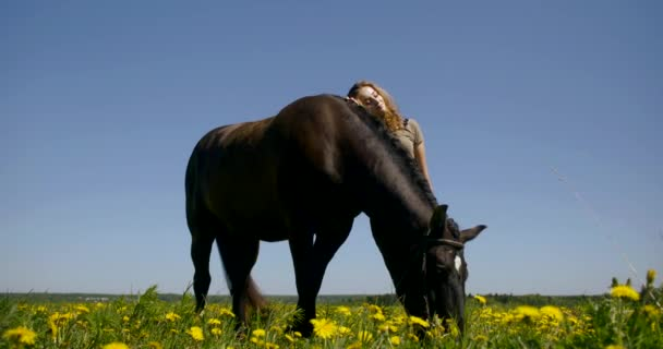 young woman leans on horse in endless yellow dandelion field