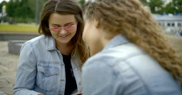 Porträt in Großaufnahme zwei aufgeweckte junge Freundinnen, die sich im Park gegenüber sitzen, etwas zum Lesen und in Büchern markieren.