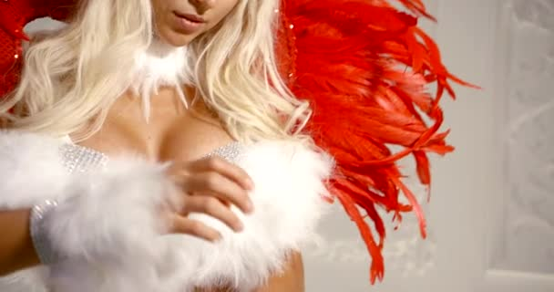 sexy blonde Frau mit großer Brust, trägt extravaganten erotischen Anzug mit weißen und roten Federn