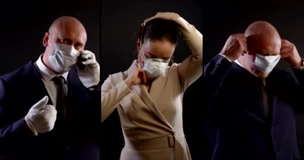 a collage of three vertical videos. a woman in a formal dress pulls on a respirator. a man in a business suit puts on a disposable mask, talks on the phone, gives a thumbs-up