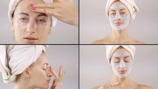 koláž čtyř videí. žena si nasadila masku na obličej, rozmazala smetanu, bavila se