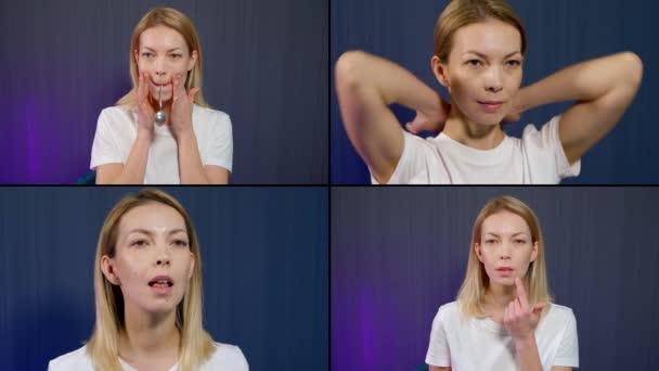 Koláž mladé blondýny, která na modrém pozadí v ateliéru ukazuje, jak se dělá gymnastika pro obličej, masíruje obličej, krk a hlavu. Drží zátku v ústech a kloubové cvičení.