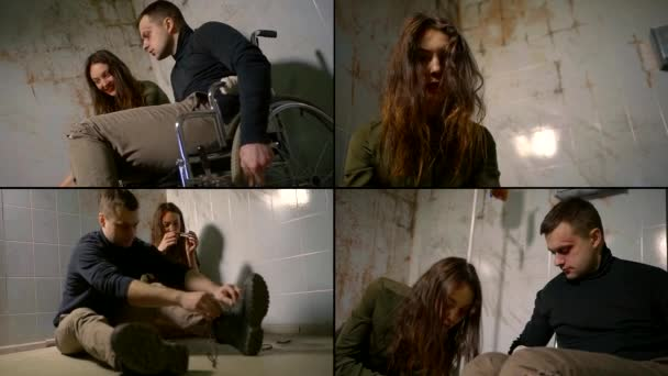 male and female patient of mental hospital, drug and alcohol addiction, collage shot