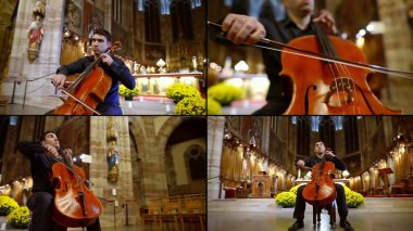 a collage of four videos. a man plays the cello in a Catholic Cathedral. static and dynamic plans,