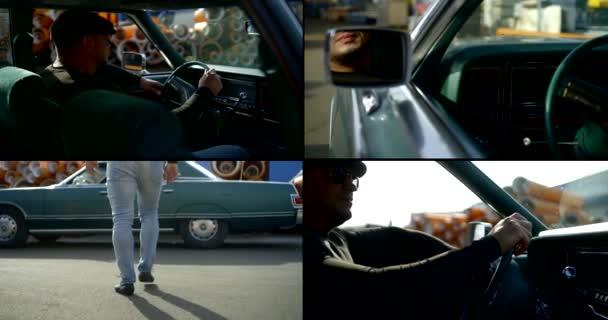 eine Collage aus vier Videos. Ein Mann von athletischer Statur mit Mütze und Brille nähert sich dem Auto. er setzt sich ans Steuer, blickt in den Rückspiegel