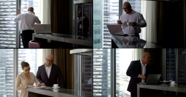 a collage of four videos. a man with glasses drinks coffee, uses a laptop, talks on the phone, and looks through papers in an apartment with large Windows