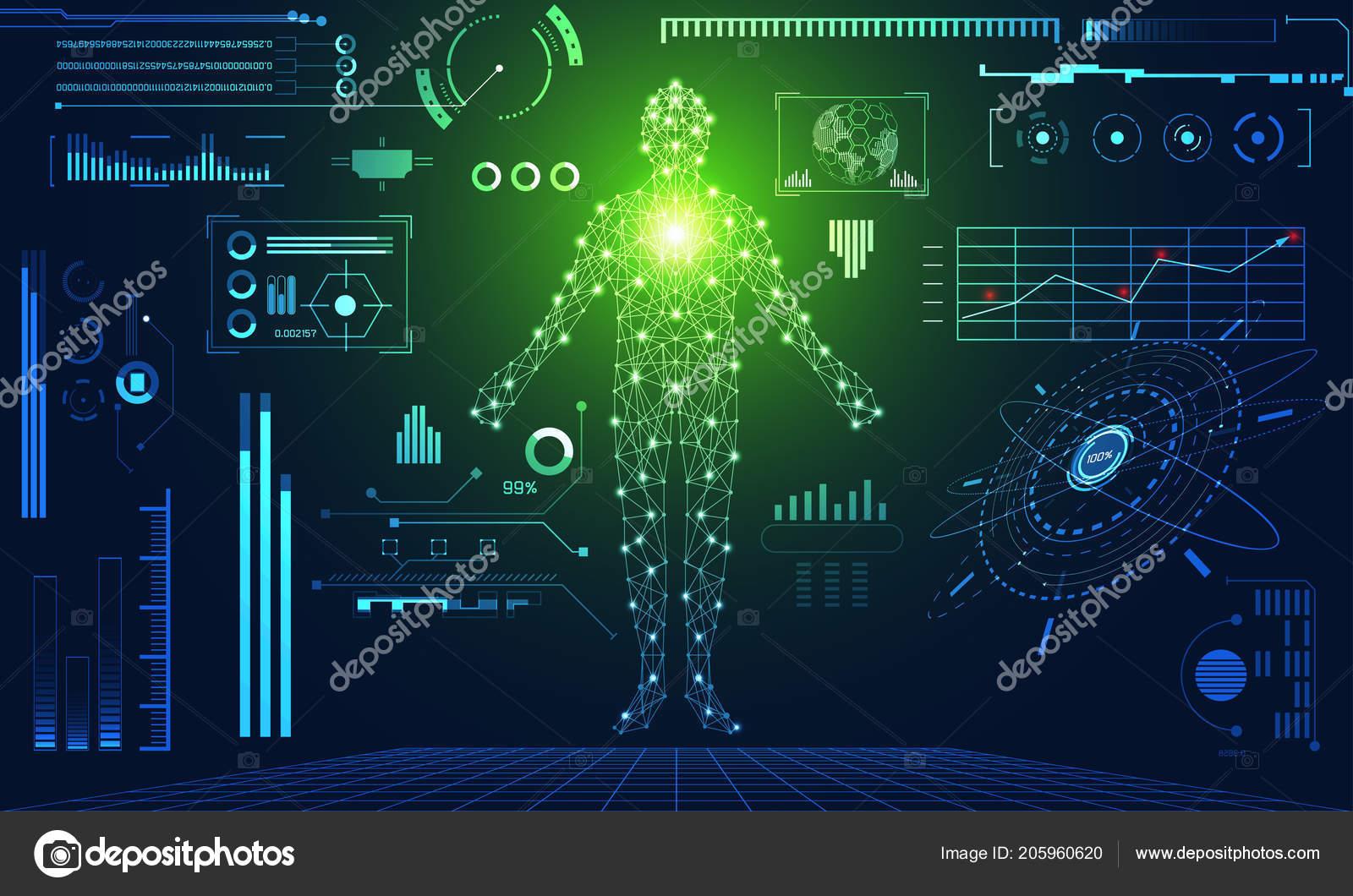 Abstract Technology Ui Futuristic Concept Hud Interface Hologram Elements Of Digital Data Chart Communication Computinghuman Body Health Care