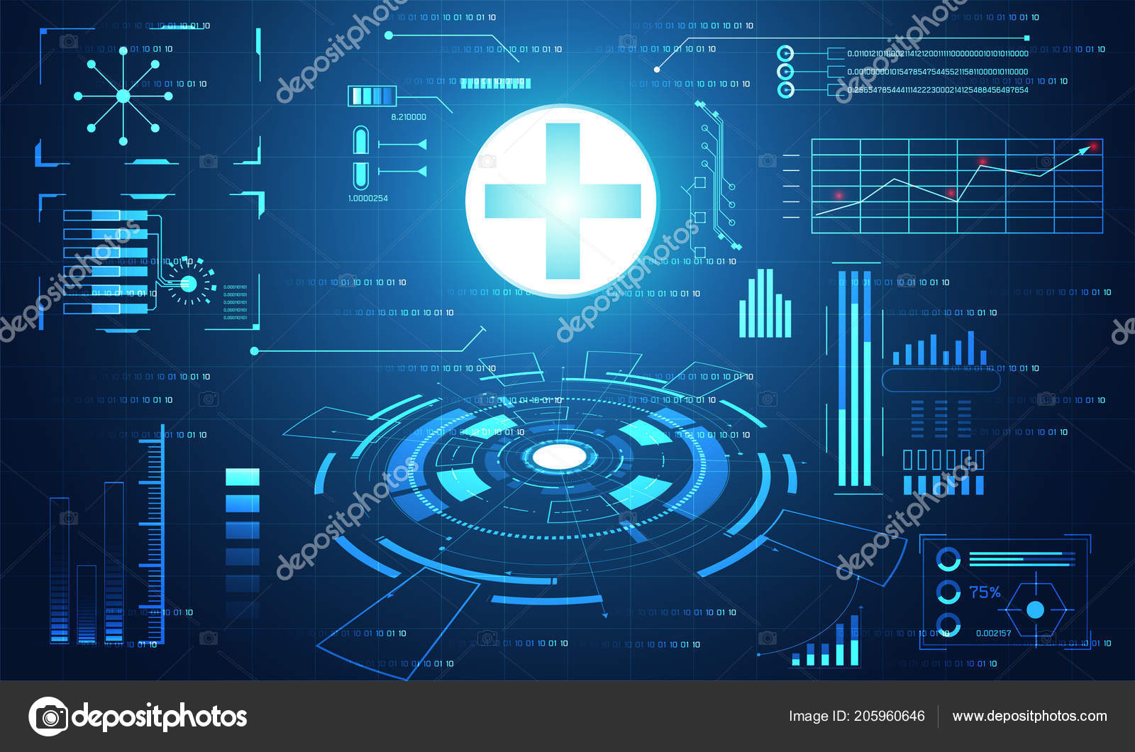 Abstract Health Medical Science Healthcare Plus Digital Technology Concept Modern TechnologyTreatmentmedicine On Hi Tech Future Blue Background