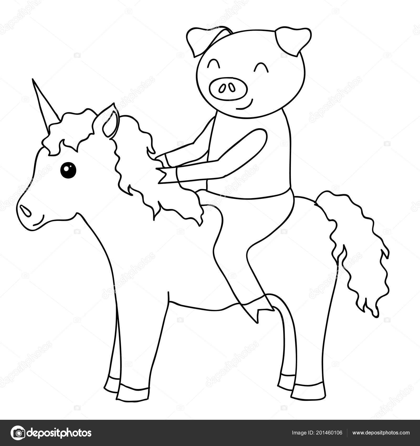 Cerdo De Dibujos Animados En Unicornio Para Colorear Archivo