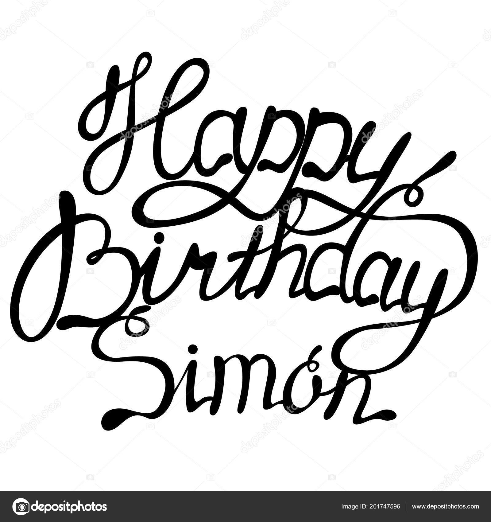 Joyeux Anniversaire Simon Nom Lettrage Image Vectorielle Marishayu