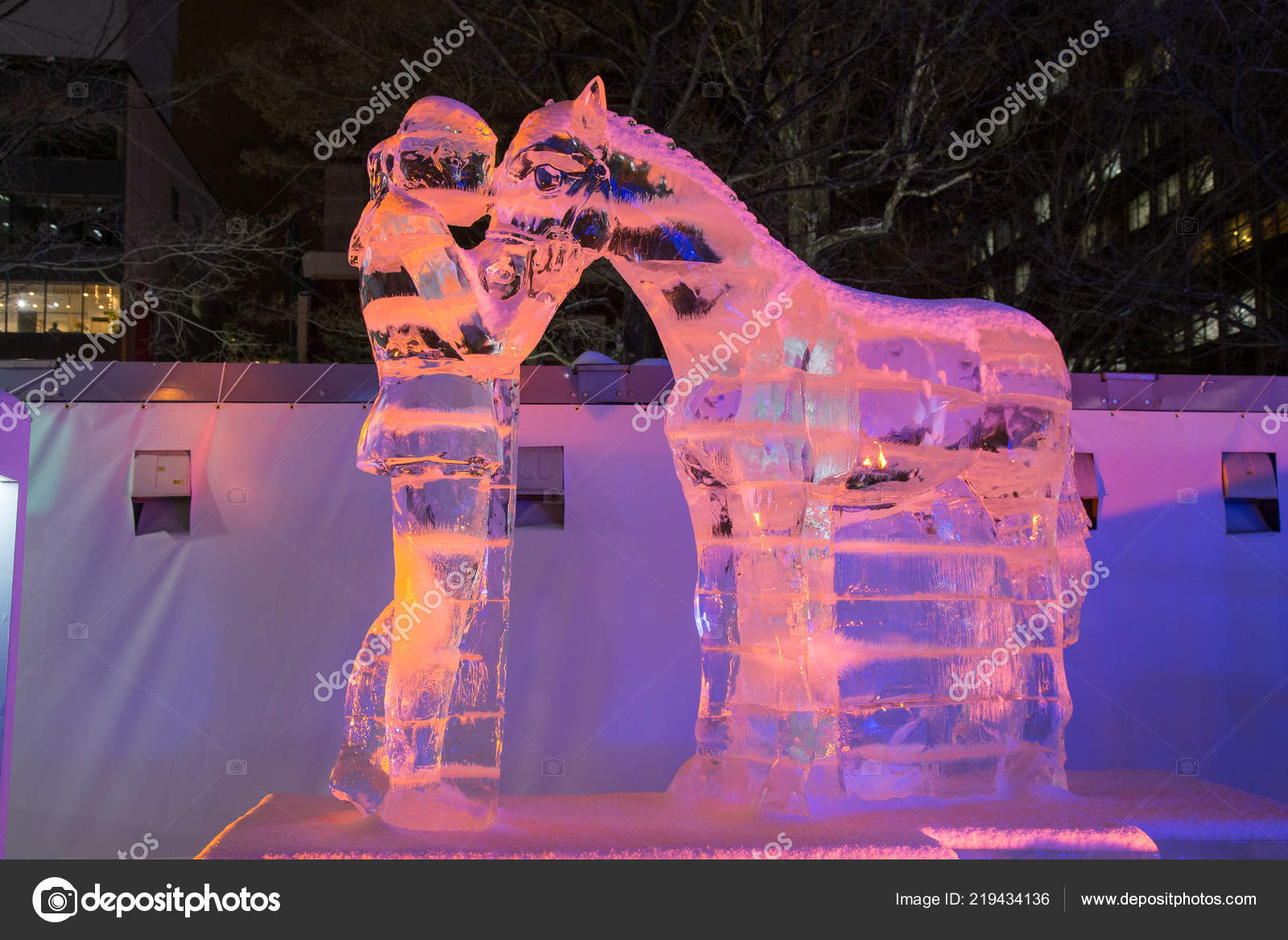 Odori Park Sapporo Hokkaido Japan February 2018 Snow Sculpture Horse Stock Editorial Photo C Chayakorn Lot Gmail Com 219434136