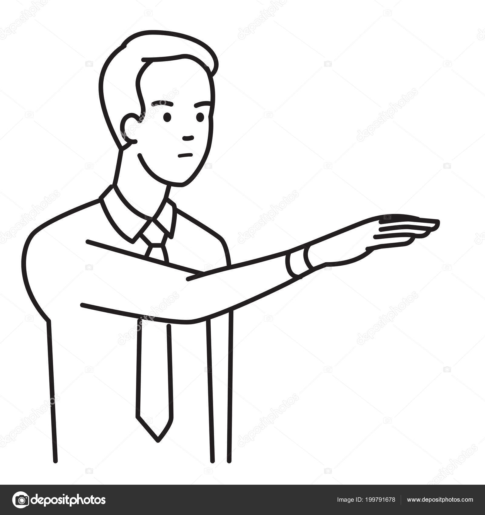 Businessman Showing Body Language Raised Hand Gesturing Palm
