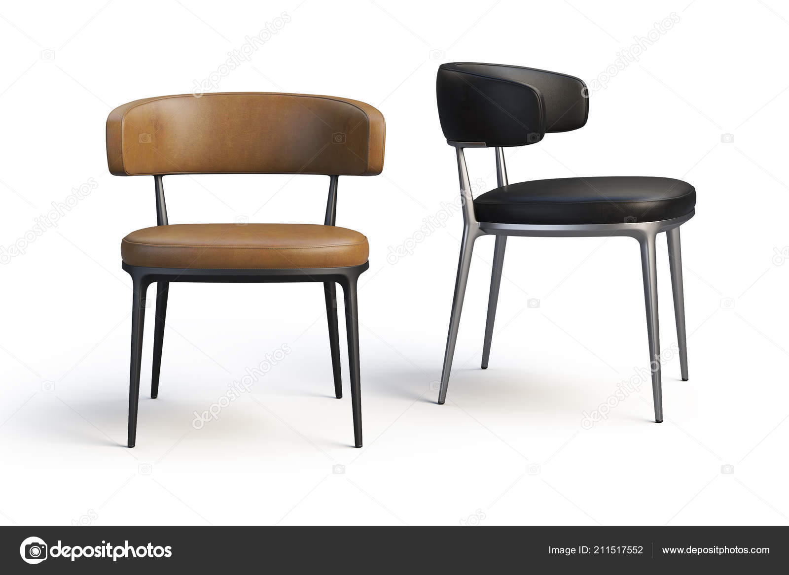 Picture of: Brown Black Leather Chairs Metal Legs White Background Shadows Render Stock Photo C 3dmitruk 211517552