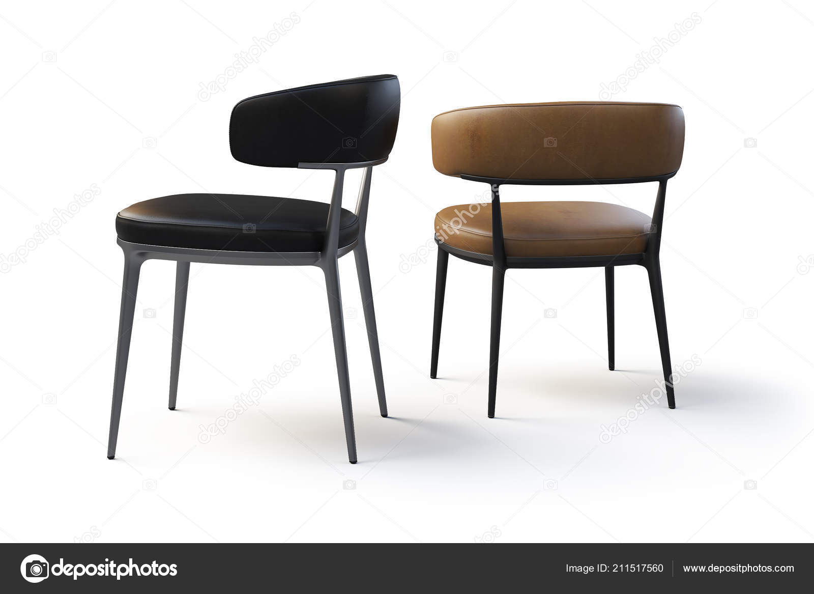 Swell Brown Black Leather Chairs Metal Legs White Background Unemploymentrelief Wooden Chair Designs For Living Room Unemploymentrelieforg