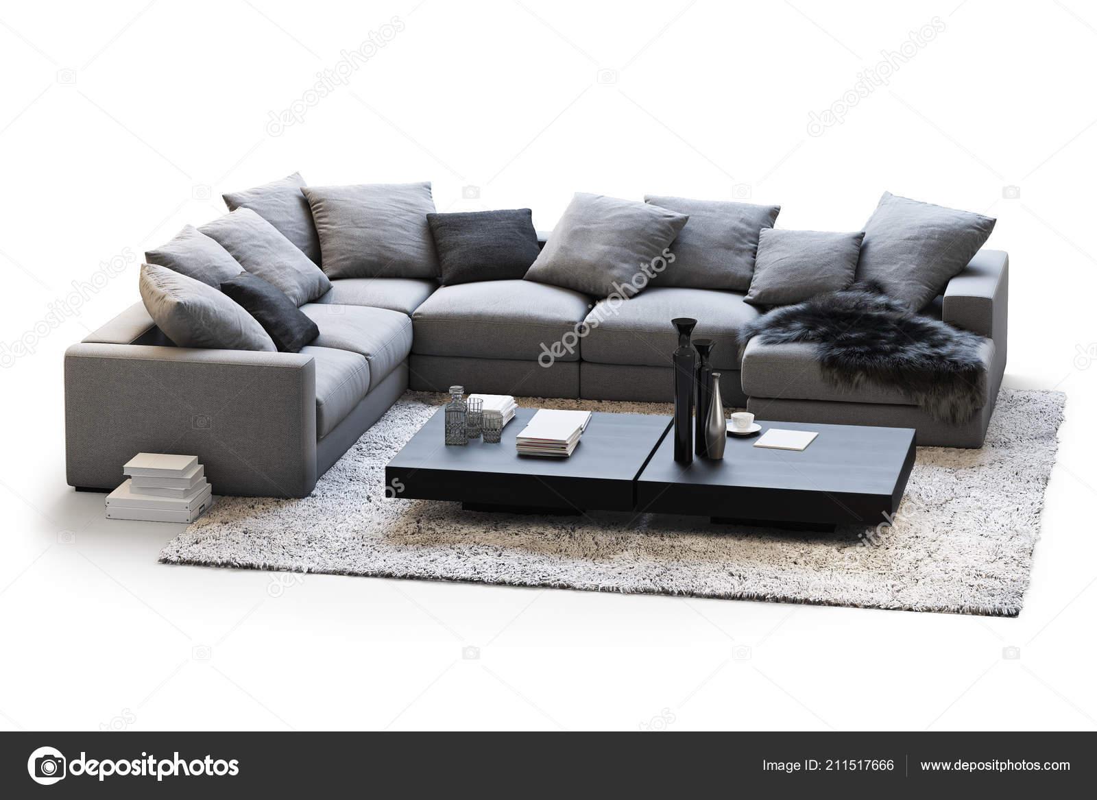 Modern furniture set sofa carpet coffee tables white background shadows stock photo
