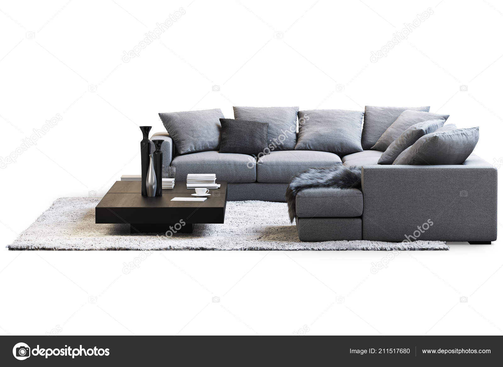 Modern furniture set sofa carpet coffee tables white background shadows stock photo