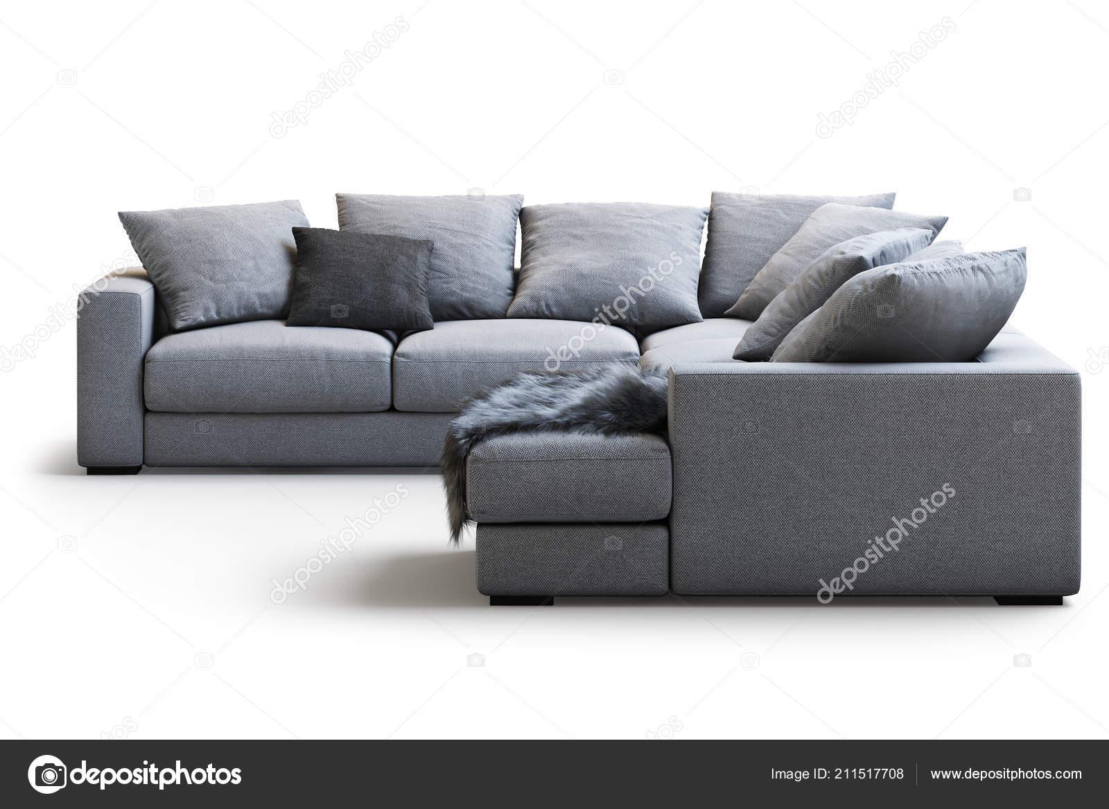 Modern Textile Sofa Pillows Plaid White Background Shadows ...