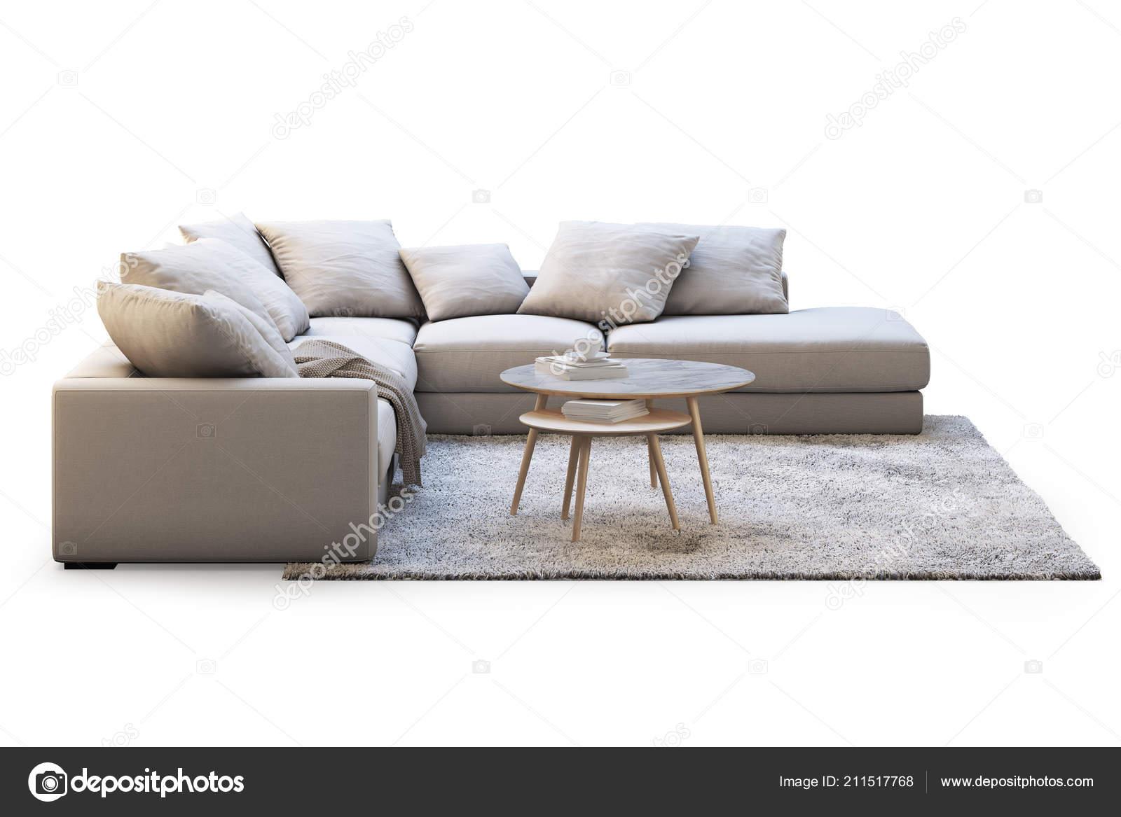 Moderne Möbel Set Mit Sofa Teppich Und Couchtische Auf Weißem