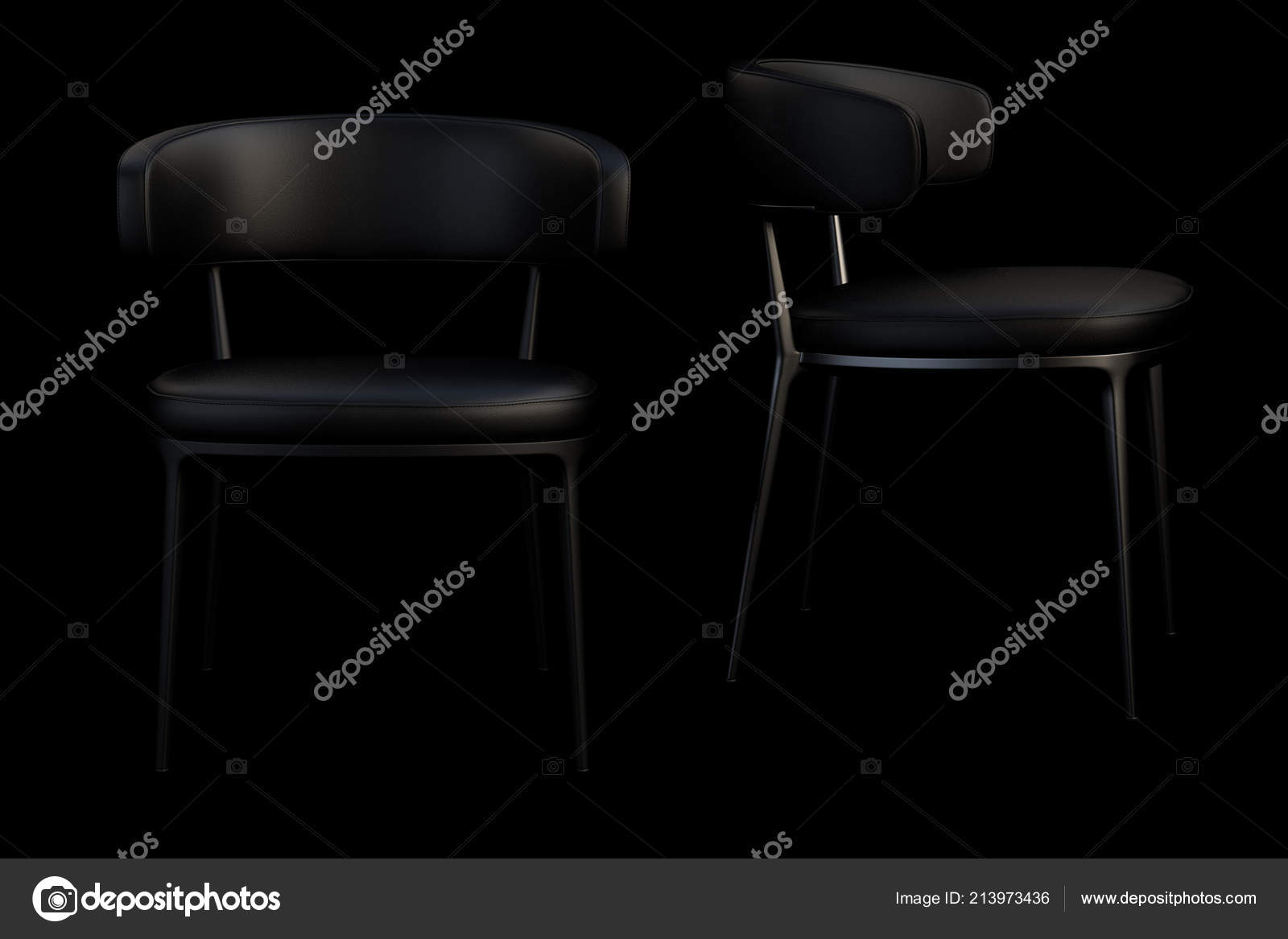 Fabulous Black Leather Chairs Metal Legs Black Background Render Unemploymentrelief Wooden Chair Designs For Living Room Unemploymentrelieforg