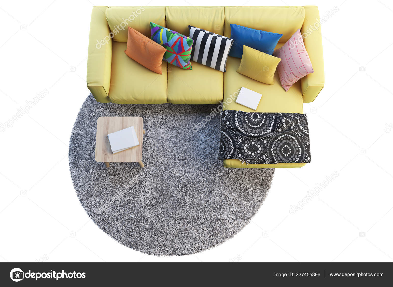 Render Yellow Fabric Sofa Chaise Lounge Gray Rug Wooden