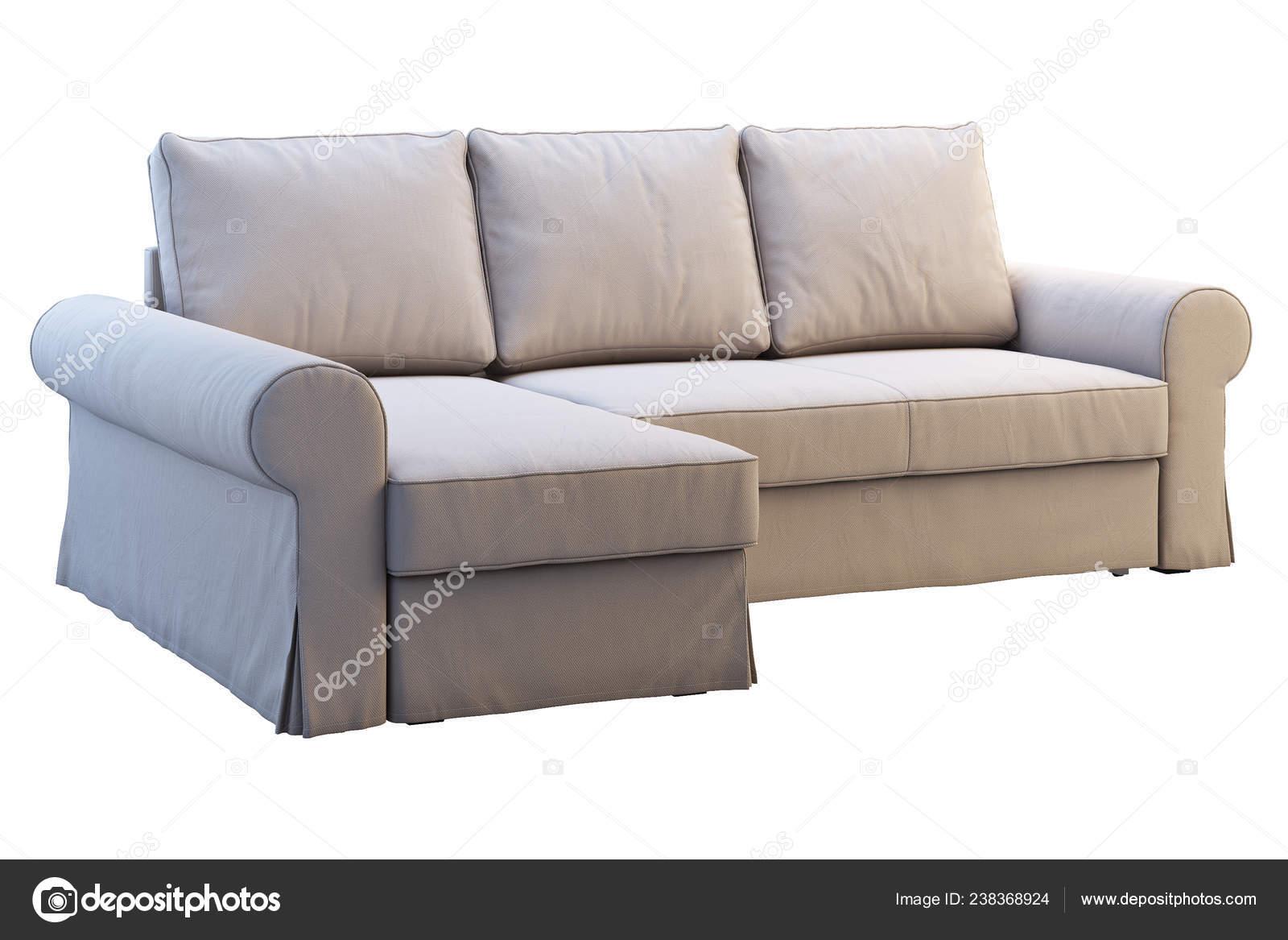 Modern Beige Fabric Sofa Chaise Lounge White Background Scandinavian Interior Stock Photo C 3dmitruk 238368924