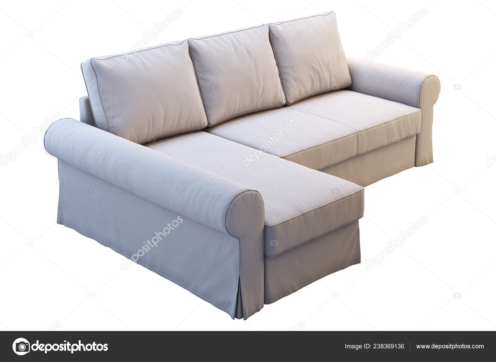 Modern Beige Fabric Sofa Chaise Lounge White Background Scandinavian Interior Stock Photo C 3dmitruk 238369136