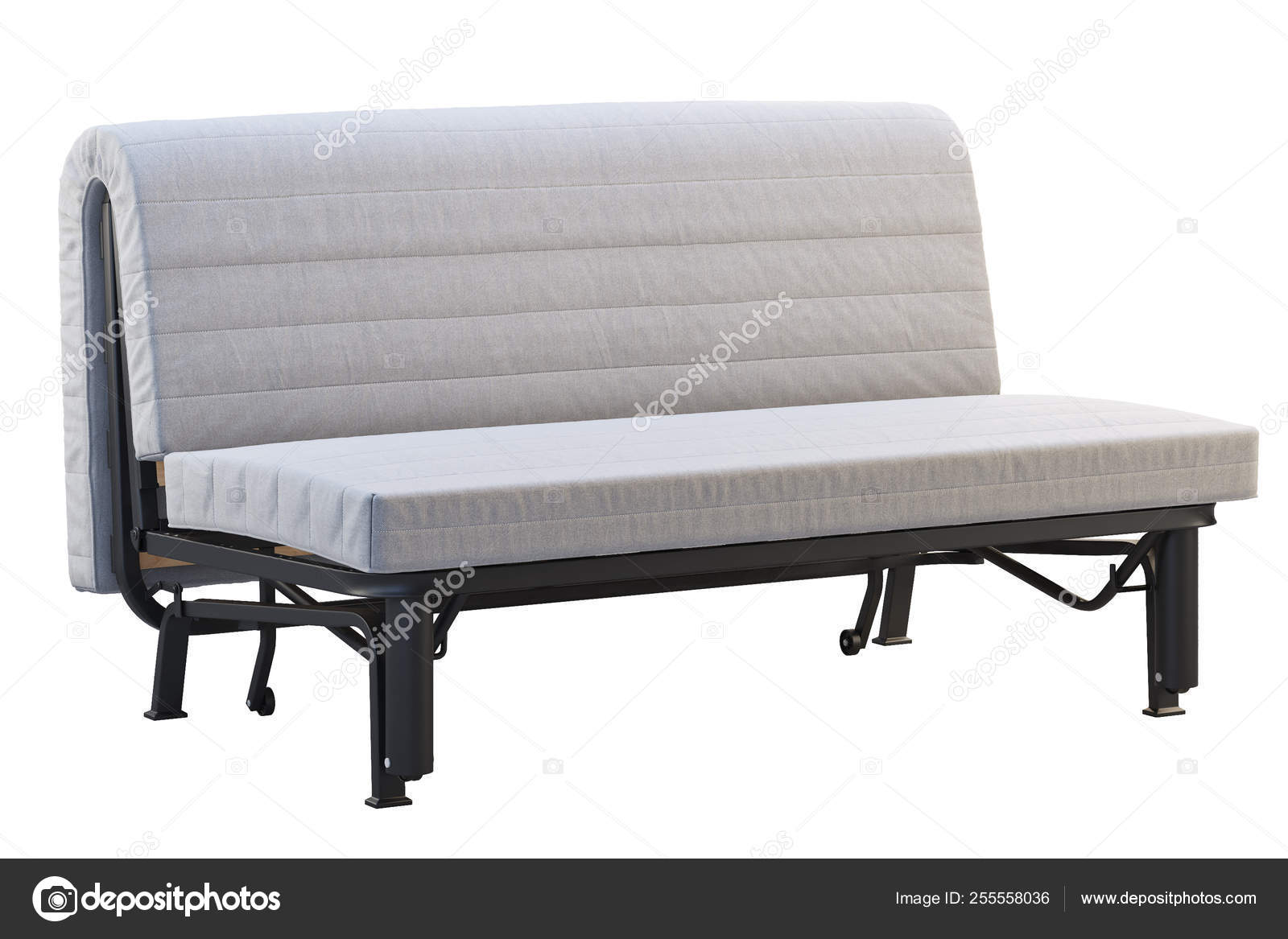Scandinavian folding sofa bed with mattress. 3d render ...