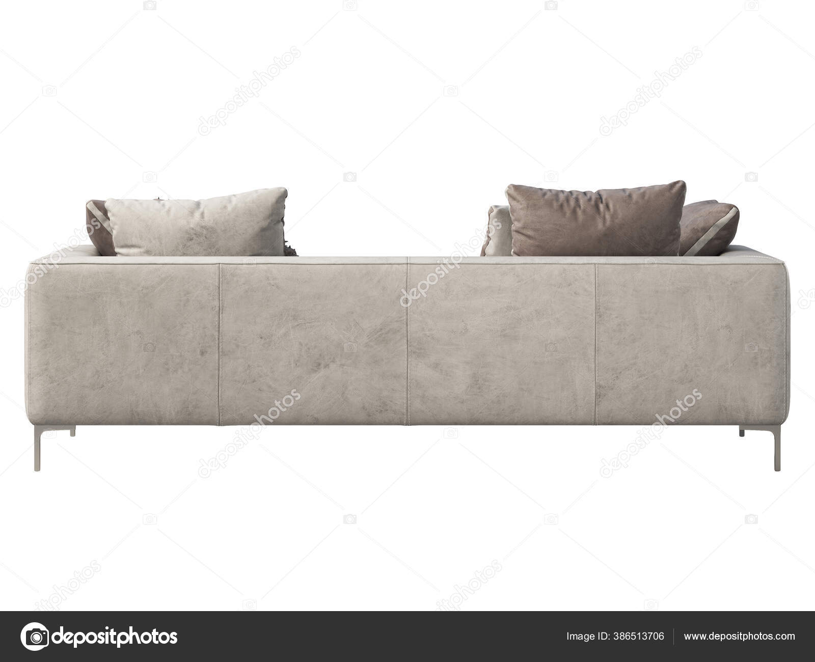 Picture of: Modern Leather Sofa Light Gray Isolated Leather Sofa Pillows Throw Stock Photo C 3dmitruk 386513706