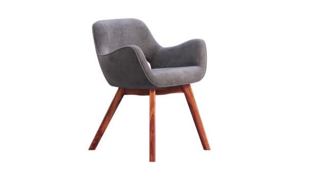 Kruhová animace šedé látkové židle s dřevěnými nohami na bílém pozadí. Moderní dřevěné křeslo z poloviny století. Otočný 3D vykreslení